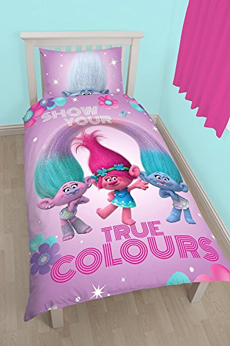 NEW REVERSIBLE Trolls Glow 2in1 character Duvet Cover Bedding Set Kids Girl PINK (SINGLE, Trolls Glow)