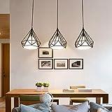 Modern Käfig Einfache Pendelleuchte Brown Elegante Höhenverstellbar Hängeleuchte Creative Eisen Tuch Lampenschirm Wohnzimmer Schlafzimmer Esszimmer 3-Flammig Deckenleuchte Max 60W E27 ø25cm*3