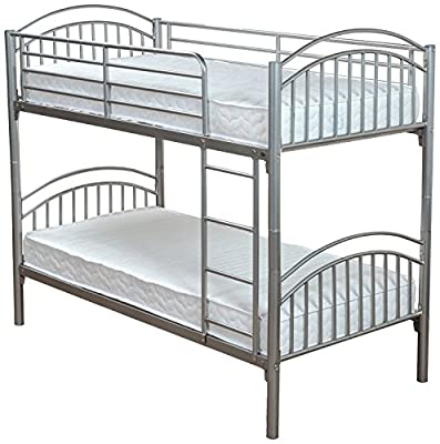 Slumber World Convertible Single Metal Bunk Bed- |Can be Used as TWO Single Beds| Silver - low-cost UK Bunkbed shop.