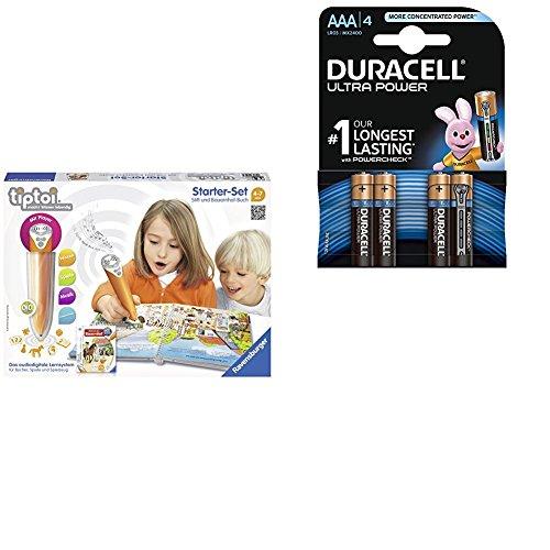 Ravensburger tiptoi Starter-Set Stift neu und Bauernhof-Buch mit Duracell Ultra Power Typ AAA Alkaline Batterien (4er Pack)