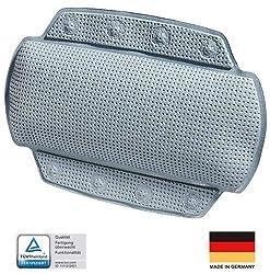 """Spirella Badewannenkissen """"Alaska Grau"""" mit 8 Saugnäpfen antibakteriell, rutschhemmend 23 x 32 cm waschbar, Made in Germany"""