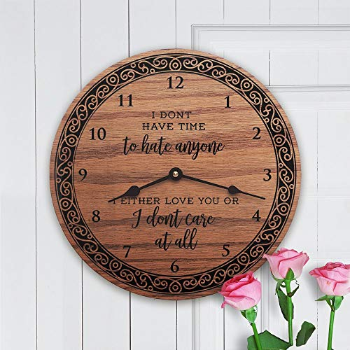 """mengliangpu8190 I Don't Have Time Peace Quote Empowerment Political Statement Feminism Girl Power Love Unity I Don't Have Time to Hate, Clock Only, 12"""" Wall Clock"""