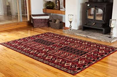 Dark Red Classic Vintage Living Room Rug - 4 Sizes Available - inexpensive UK light shop.
