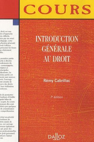 Introduction générale au droit par Rémy Cabrillac