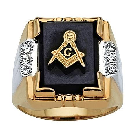 Chevalière plaqué or 14 ct - onyx/accents de diamant - emblème franc-maçon - homme - 57