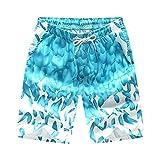BOZEVON Sommer Loose Quick Dry Strand Hosen Paar Casual Shorts Männer und Frauen Urlaub am Meer Surfen Badehose,Eisblau,EU 3XL=Tag 4XL