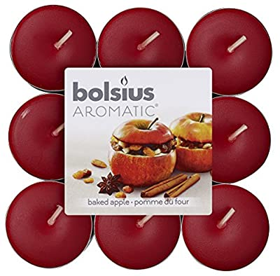 "Aromatic ""Baked Apple"" Scented Tealight, Paraffin Wax, Red, Pack of 18 by Bolsius"