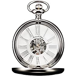 KS Steampunk Mechanical Smooth Silver Case Roman Numerals Pocket Watch White Dial KSP036