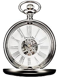 KS KSP036 - Reloj de Bolsillo, Mecánico de Cuerda Manual, Analógico, Caja Plateada