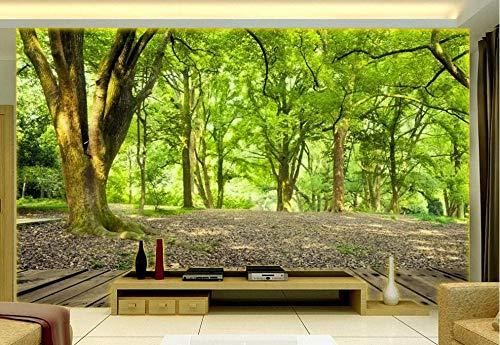 Carta da parati 3d bosco paesaggio verde bosco fotomurali murales da parete 3d moderni - 430x300cm