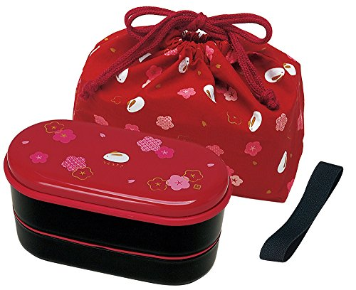 Japonaise - 2 niveaux-Boite Lunch Box Bento Sac à la ceinture, baguettes, rouge coquelicot et lapin