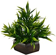 Fancy Mart Plastic & Wood Artificial Bamboo Leaves Plant with Wood Hexagon Pot (20 cm, Gr