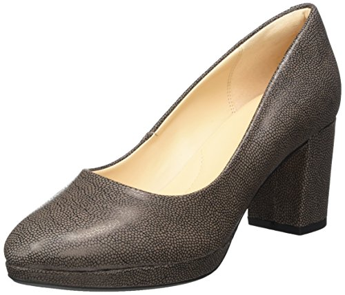 Clarks Kelda Hope, Scarpe con Tacco Donna, Grigio (Taupe Leather), 38 EU