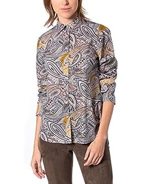 eterna Damen Bluse Comfort Fit Langarm Taupe Bedruckt mit Hemd-Kragen