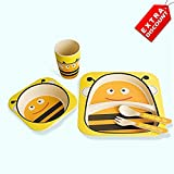 EZ Life 5 Pcs Kids Dining Set - Bee - Eco Friendly Bamboo Fibre - Yellow And Black - Extra Discount Offer