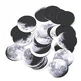 Gluckliy 48er Set Mondphase Muster Wand Aufkleber für Kinder leicht entfernbares wasserdichtes Kein Verschmutzungs Material,DIY Aufkleber