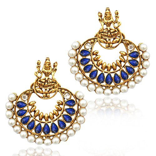 Pearl Blue Ramleela South India Temple goddess Lakshmi ADIVA earring mz5b  available at amazon for Rs.299