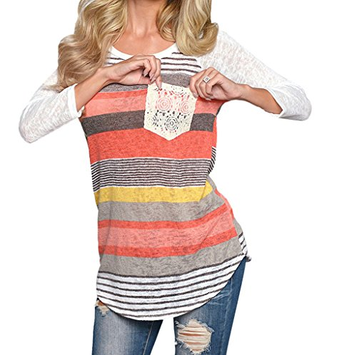 Tops, FEITONG Femmes Striped Lace Pocket O-cou Chemises Blouses Rouge