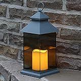 Festive Lights - Lanterna con candela LED a batteria, colore: Grigio, Nero o Bianco - Parete infrangibile effetto vetro colorato - Decorazione interno/esterno (impermeabile), grigio, 31cm