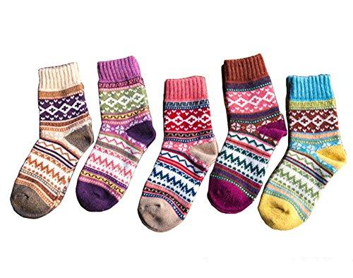 Damen Mädchen Winter Warm Wolle Strick Knöchel Socken Bunte gestreifte 5 Paar UK Größe 4-7 (Socken Navy Wolle)