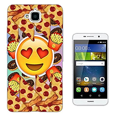 001217 - Smiley Emoji Yum Pizza Fries Doughnuts Design Huawei Y6 II Compact Fashion Trend Protecteur Coque Gel Rubber Silicone protection Case Coque