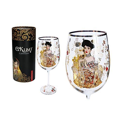 CARMANI - Fancy Weinglas verziert mit Gustav Klimt Adele Bloch Bauer Gemälde, 640 ml