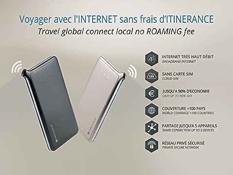 PHENIX Hotspot WIFI 4G INTERNET dans le Monde sans frais de Roaming/Itinérance avec nouvelle technologie SIM virtuelle (sans carte SIM physique): Internet Sécurisé Privé / Couverture mondiale + 100 Pays / Ultra Simple Aucune Configuration / Partage de connexion jusqu