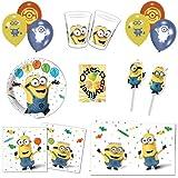 Minions Balloons Partyset 71tlg. Teller Becher Servietten Tischdecke Luftballons Trinkhalme für 12 Kinder