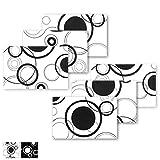 Arsvita Tischset 6 Stück ca. 30x45cm Weiß mit Schwarzen Kreisen, Platzset in Vers. Motiven erhältlich