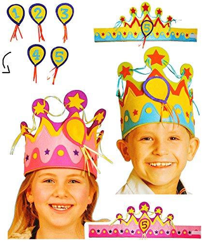 ronen - ROSA & BLAU - Größen VERSTELLBAR - für Kinder & Erwachsene - mit Zahlen - Geburtstagskrone / Kindergeburtstag - lustiger Partyartikel - Königskrone - Fasching Karneval & Geburtstag 30 / 40 / 50 / 60 er - Scherz / Scherzartikel - Geburtstagsparty - König & Königin / Prinz & Prinzessin - Geburtstagskind - Jungen Mädchen (Erwachsene Verstellbar König Krone)
