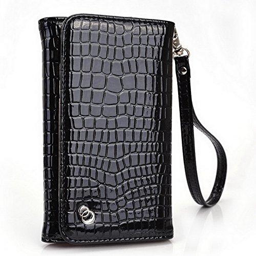 Kroo Croco Étui portefeuille universel pour smartphone avec bracelet pour carreaux prune Plus Mobile Orange - orange noir - noir