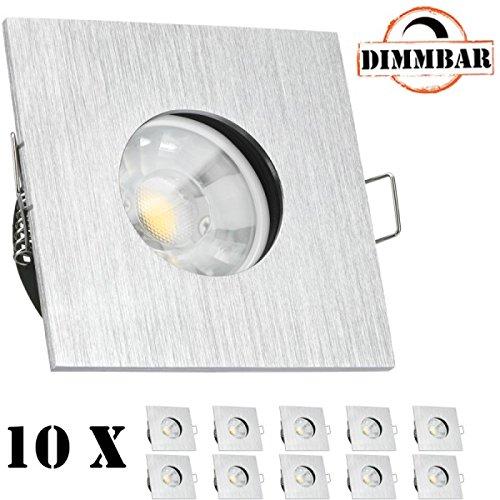 10er IP65 LED Einbaustrahler Set Aluminium gebürstet mit COB LED GU10 Markenstrahler von LEDANDO - 7W DIMMBAR - warmweiss 3000K - 40° Abstrahlwinkel - Feuchtraum/Bad - 50W Ersatz - COB LED Spot 7 Wa - Wa Spot