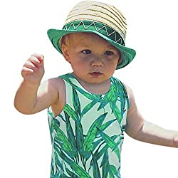 Sunward Summer Toddler Baby Boys Leaves Printed Stripe Tank (3-6M