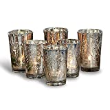 Loberon Windlichter 6er Set Latona, Weihnachtsbeleuchtung, Glas, H/Ø ca. 10/7 cm, antiksilber