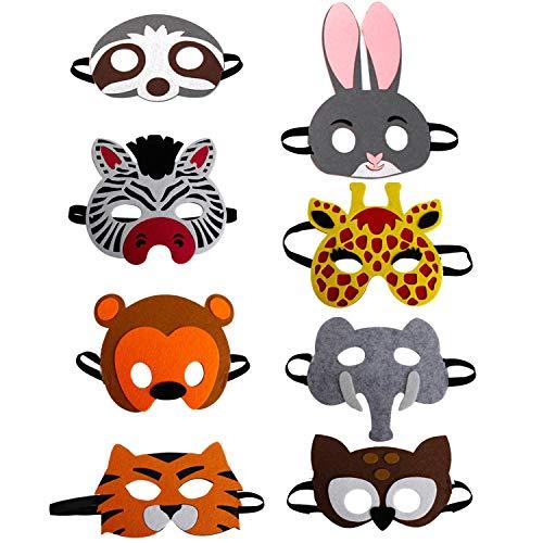 U&X Filz Maske Kinder Tiere, tiermasken für Kinder ab 2 Jahren, Masken Kindergeburtstag, 8 Stück ,One Size, Mehrfarbig