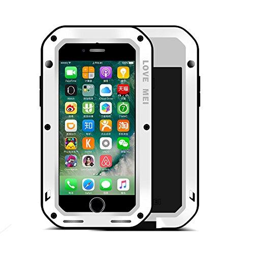 iPhone 7 Hülle : Fonrest Love mei Leistungsstarke Aluminium Metal Armor Gorilla-Glas Stoß- schnee- schmutzfester Abdeckung für iPhone 7 (iPhone 7, Silber) weiß