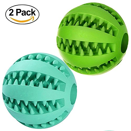 Hundespielzeug Ball 2 Stück, Hundeball Dentalball von Earthbay | Naturkautschuk Spielzeug für Hunde | Hundetraining Snackball | Kauspielzeug