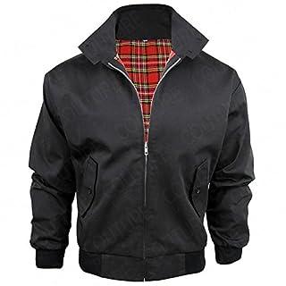 Harrington-Jacke mit kariertem Futter, gefertigt in Großbritannien, Herren, mit Reißverschluss, klassische Bomberjacke Gr. XXL, schwarz