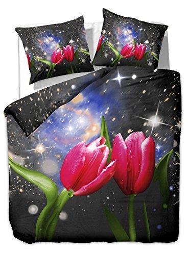DecoKing 200x220 cm Bettwäsche mit 2 Kissenbezügen 80x80 3D Bettwäscheset Bettbezüge Microfaser Bettwäschegarnituren Reißverschluss Blume Blumen Blumenmuster Infinity schwarz rot grün blau