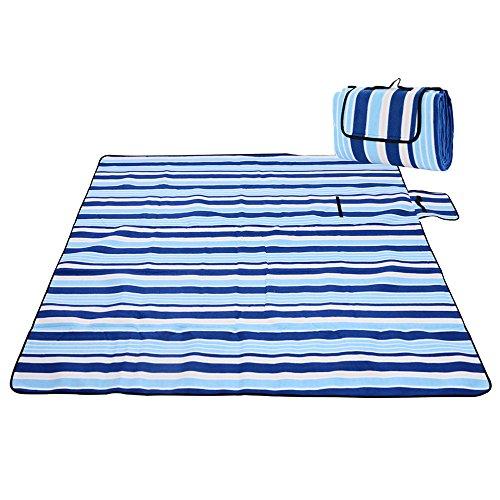 iRegro Picknickdecke wasserdicht Campingdecke 200x200 cm XXL Fleece Stranddecke Strandmatte gepolstert mit Tragegriff