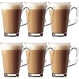 Taylor & Brown® vasos largos de té café capuchino tazas de cristal y platillos bebida caliente–240ml, vidrio, Pack de 6
