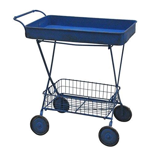 Serveuse en métal bleu avec roues Antique