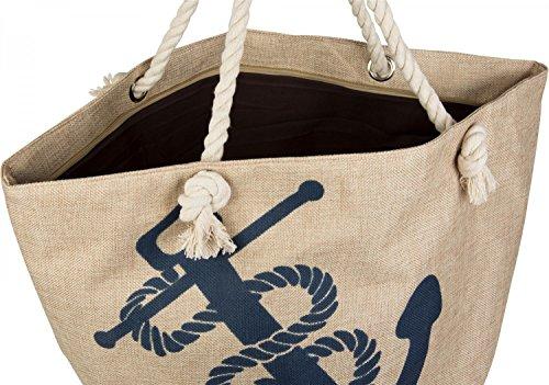 styleBREAKER Strandtasche in Flechtoptik mit Anker Print und Reißverschluss, Shopper, Badetasche, Damen 02012077, Farbe:Beige-Blau Beige-Blau