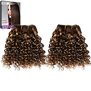Emmet 8pollice extension capelli veri ricci corto umani brasiliani naturali ondulato remy Kinky Curly donna afro 50g/pezzo 2pezzo(i)/pacco(Piano Color 4#/27#)