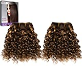 Emmet 2pcs/lot 100g Short Wave 8Inch Brazilian Kinky Curly Human Hair Extension (Piano Color 4#/27#)