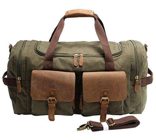 FAIRY COUPLE Unisex Canvas Handtasche Gepäck Tasche für Reise Laptop Ausflug Camping Messenger Tasche Schultertasche C3016,kaffee Armee grün