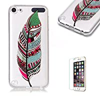 For iTouch 5/6 Case [with Free Screen Protector],Funyye Fashion lovely Lightweight Ultra Slim Anti Scratch Transparent Soft Gel Silicone TPU Bumper Protective Case Cover Shell for iTouch 5/6 - Feather