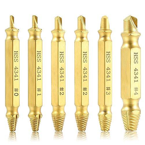 Dekool 6 Piezas Extractor de Tornillos con Caja Para EliminacióN De Roto O DañAdo Tornillos, Fabricado en Acero de Alta Velocidad HSS 4341#, Dureza 62 – 63hrc