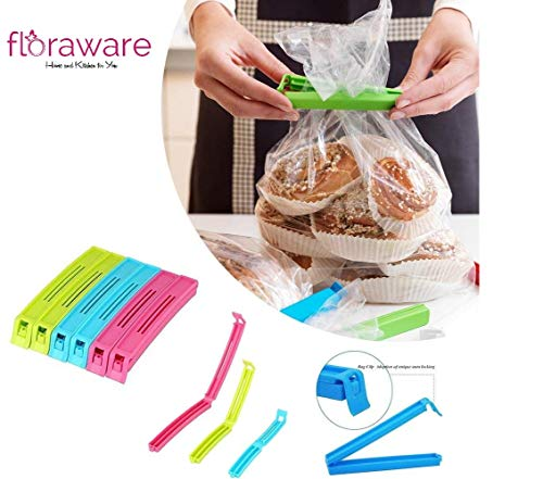 Floraware Plastic Snack Bag Clip Sealer Set, 18-Pieces, Multicolour