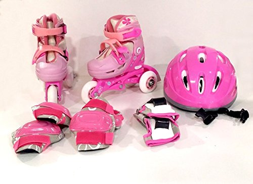 PATTINI ROLLER 30/33 GIRL PINK ZAINETTO,CASCO,PROTEZIONI ITN GW069HG01P2 (bag,helmet,protections)